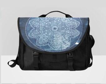 Blue Mandala Laptop Messenger Bag Distressed
