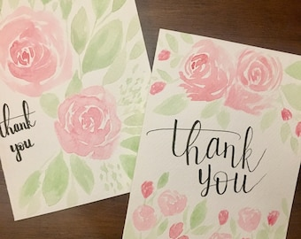 Handmade watercolor thank you cards (2 pack)