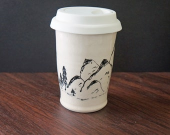 Handmade Mountain Commuter Mug - Pottery Wanderlust Travel Cup - Pottery To Go Cup - Mother's Day Gift - Gift for Her - Gift for Him