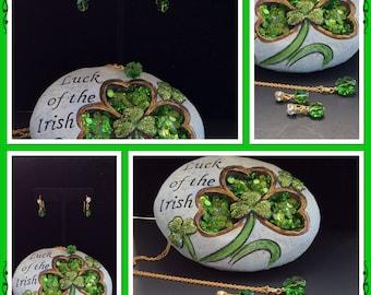 Swarovski Shamrock Earrings - Crystal Shamrock Earrings - St. Patricks Day Earrings - Shamrock Earrings, Shamrock Jewelry, Swarovski Earring