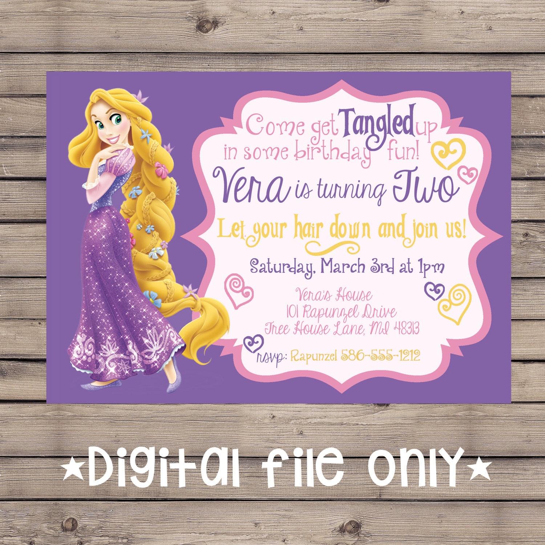 Tangled Birthday Invitation Rapunzel Birthday Invitation Tangled