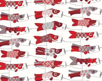 Fabric kites red Koinobori, Japanese koi carp, 1/2 meter