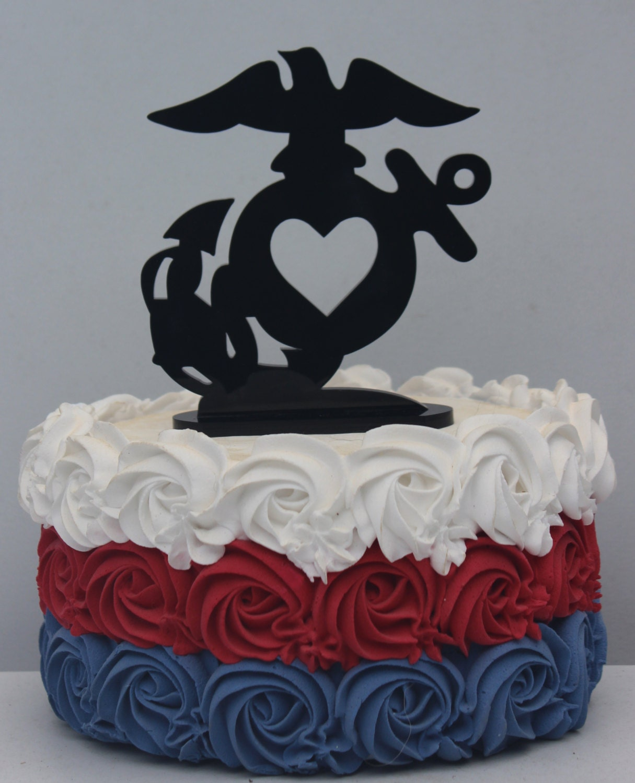 Military USMC Marine Corps Heart Wedding Cake Topper Groom EGA