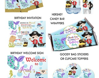 PIRATES Mermaids BIRTHDAY Party PACKAGE, Mermaid & Pirate Birthday Party, Boy Birthday Girl Birthday Any Age, Customized Digital Printable