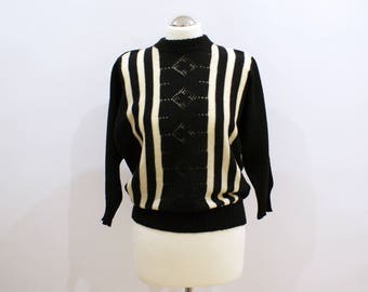 Black and White Vintage Sweater Retro Jumper with Stripes Delicate Knitwear Cozy Pullover 3/4 Sleeves Size S