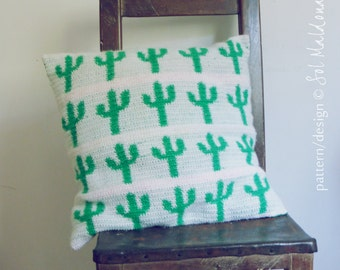 CROCHET PATTERN Cactus Crochet Pattern Pillow & Wall Art Tapestry Crochet Pattern - Instant DOWNLOAD crochet pattern