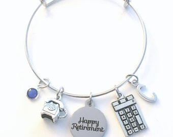 Retirement Gift for Women Jewelry, Receptionist Secretary Charm Bracelet Silver Bangle Assistant Bookkeeper phone telephone calculator woman