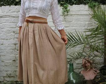 Vintage 80s High Waisted Stripe Boho Midi Skirt
