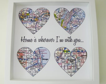 Housewarming Gift Home Sweet Home Map Art Print FRAMED ART  Holiday Gift for Hostess Valentines Day Gift for New Home Gift First Home Gift
