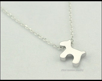 Dog lovers necklace, silver puppy necklace, personalized puppy necklace, kids necklace, kids jewelry, tiny dog charm, initial puppy dog gift