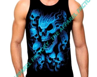 New Men's  Blue Skull Tank Top all size S-3XL