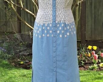 Cotton Button Up Dress, Floral Dress, Hand Painted Dress, Cotton Midi Dress, Vintage Style Dress, Painted Dress, 50s Style Dress, 50s Midi.