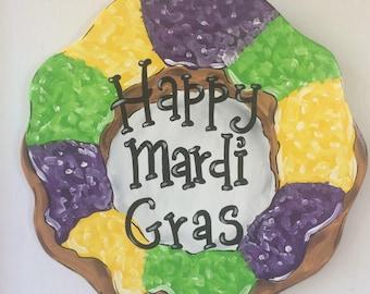Mardi Gras King cake wooden door hanger carnival