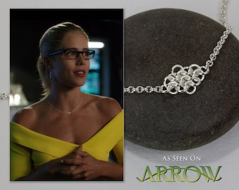 Silver Necklace Simple Sideways Rhombus, Argentium Sterling Elegant Fused Chainmaille Choker, 15 16 17 18 inch, As Seen on TV Arrow Felicity