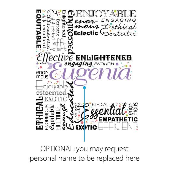 Positive words start with Letter E Alphabet E monogram