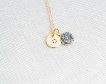 Druzy and Initial Necklace,  silver coloured Druzy, Bridesmaid Necklace, Gift idea