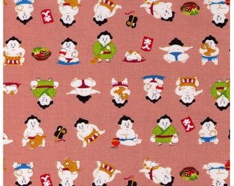 HALF YARD Cosmo Textile - A Sumo and his Kitty on PEACH - AP76411 5A - Japanese Import