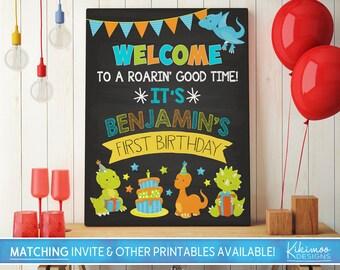 First Birthday Chalkboard Poster Dinosaur Chalkboard