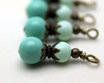 Turquoise Glass Bead Earring Dangle with Brass Bead Dangle Pendant Charm Drop Set