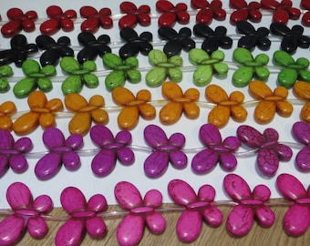 15 inch strand of Synthetic Carved Butterfly Shape Beads 18x35mm