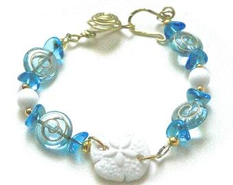 Sand Dollar Bracelet. Aqua Bracelet, Blue Bracelet, Sand Dollar Jewelry, Beach Jewelry, Casual Bracelet, Nautical Bracelet, Mothers Day Gift