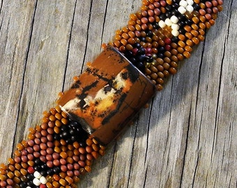 Free Form Peyote Stitch Beaded Bracelet Beaded Cuff - Bead Weaving  - Snake Skin Jasper - BOHO
