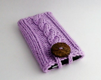 Hand Knit Mobile Cell Phone Cover for the iPhone 4 to 7, 6/7 PLUS Samsung Galaxy s3 to s7 Lavender Purple Coconut Button Crochet Gadget Case