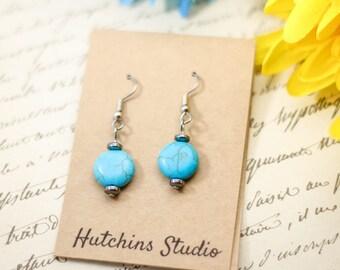 HOWLITE & HEMATITE EARRINGS - Casual Earrings - Turquoise Howlite Earrings -Round Earrings - Hematite Earrings - Turquoise Earrings