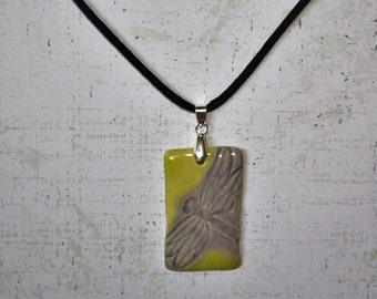 Dragonfly green and lavendar stoneware pendant (with silk necklace) handmade by EkCreations