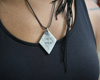 Pendants etsy uk pronouns solid steel industrial styled queer lgbt identity tag pendant or necklace they aloadofball Gallery