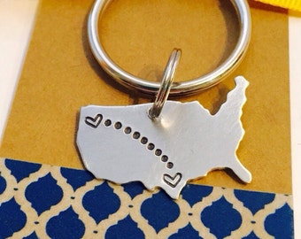 Long Distance Key Chain Personalized United States Key Chain -Long Distance Key Chain - Best Friends Key Chain- Moving Away Gift