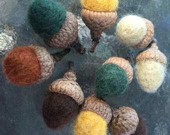 Saison automne glands feutrée mini - lot de 10 couleurs mixtes - bois naturel