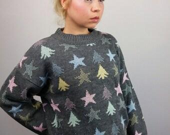 Vintage 90's Wool Blend Star Patterned Knit Jumper