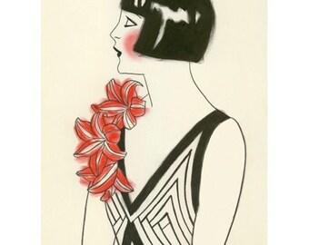 Fashion Illustration - Art Deco Print - 4 for 3 SALE Red Corsage  - 8.3 X 11.7 print