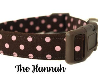 The Hannah - Brown and Pink Polka Dot Dog Collar