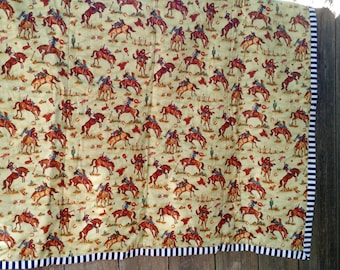 Red, Blue and Green Cowgirl Baby Blanket, Cowgirl riding a horse