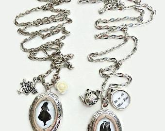 Alice in wonderland oval locket, We're all mad here locket, Silver oval locket, Mad hatter necklace, Alice in wonderland jewelry