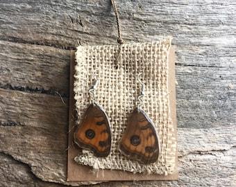 Orange Butterfly Resin Wing Sterling Silver Earrings
