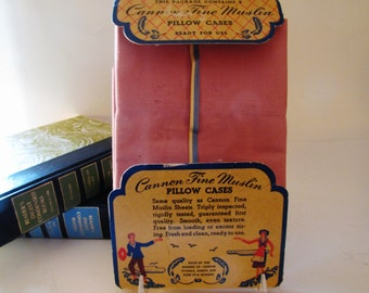 Vintage Cannon Muslin Pillowcases, Pair Standard Pillowcases, 1950's, Pink Pillowcases
