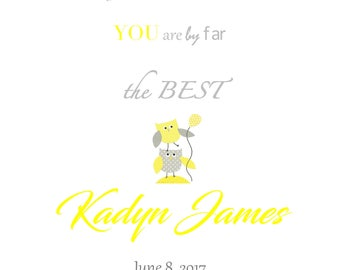 Birth Announcement Printable, Baby Boy, Baby Girl, Grey, Yellow, Owls, Digital