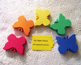 Butterfly Die Cuts/ Bright Primary Colors/Red/Orange/Yellow/Green/Blue/2 inch cardstock-  Free Secondary Shipping