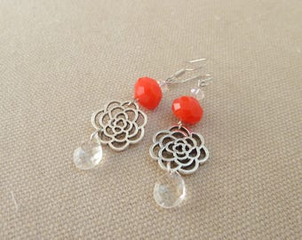 Earrings stylized pink and red/orange beads