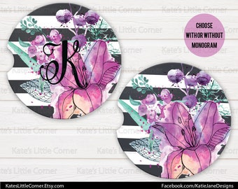 Watercolor Floral Initial Car Coasters, Car Accessories for her, Personalized Car Coaster, Monogramed Car Coaster, Cup Holder Coaster