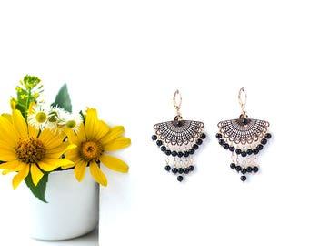 Handmade Gift for Woman Bohemian Earrings Chandelier Earrings Black Earrings Gold Earrings Gemstone Earrings Gift Idea for Daughter Gifts