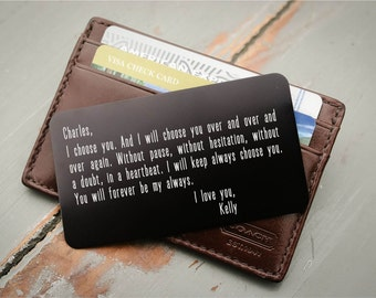 Personalized Wallet Card, Engraved Wallet Card: Valentine's Day, Anniversary Gift for Him, Wedding Day Groom's Gift, Father's Day Gift