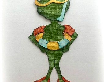 summer frog in swim gear  animal premade paper piecing 3d die cut for scrapbooking by my tear bears kira