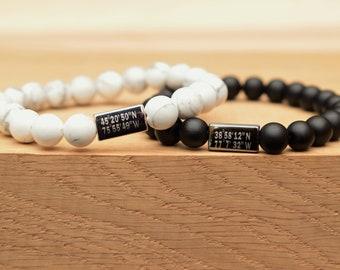 longitude latitude bracelet couple coordinate bracelet gps coordinates bracelet couple custom matching couples personalized friendship gift