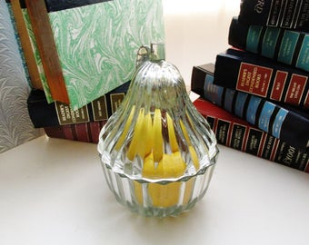 Jeannette Pear Trinket Box, Crystal Curios, The Pear, Coffee Table Candy Dish, Jeannette Glass