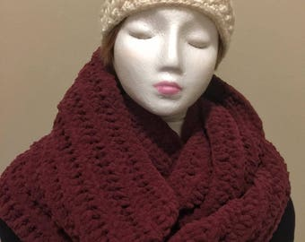 Blanket Warm Soft Scarf, Super Chunky, Oversized infinity scarf, choose your colour, burgundy, cowl