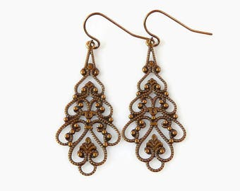 Teardrop Filigree Earrings Lace Earrings Patina Brown Earrings Long Boho Earrings Vintage Style Brass Dangles Country Bride Rustic Wedding